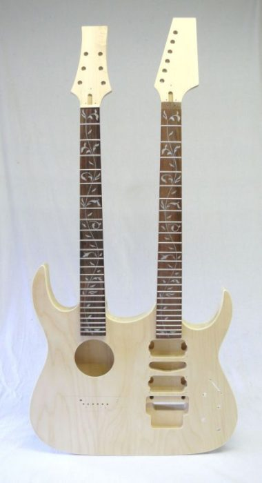 Akustik E-Gitarren Bausatz Double Neck Tree of Life Inlays (2)
