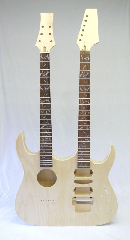 "E-Gitarren / Akustik-Gitarren Bausatz Double Neck ""Tree of Life"" Inlays"
