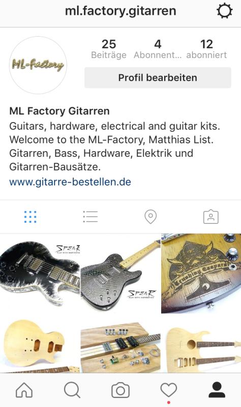 ML Factory Gitarren jetzt auch auf Instagram