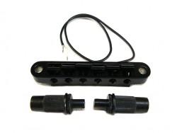 LP-Style Tun-O-Matic Bridge schwarz mit integriertem Piezo Pickup