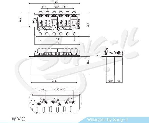 rollengelagertes Tremolo ML-Factory® chrom Saitenabstand 10,8mm