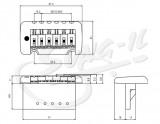 Tremolo mit 2 - Punkt-Klingenaufhängung chrom 52,5mm Klingenabstand