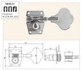 5 Saiter Bass Mechaniken/Tuner 1 Satz 4 links/1rechts chrome
